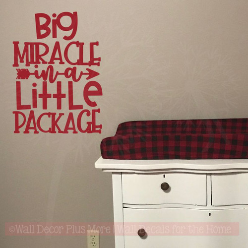 Nursery Wall Decor Quotes Big Miracle In Little Package Vinyl Decals-Red