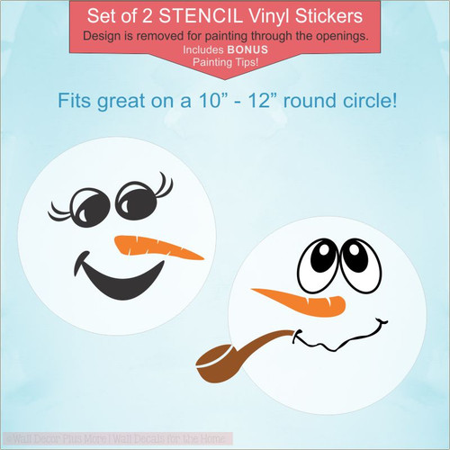 Snowman Face Stencil Sticker For Winter Decoration Painting DIY Wood