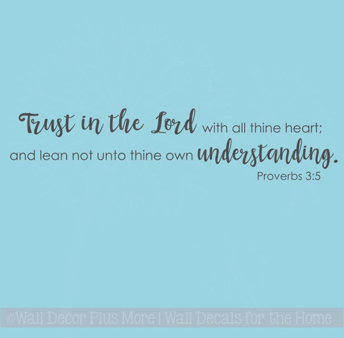 Christian Wall Decals, Trust In The Lord Vinyl Stickers Home Decor