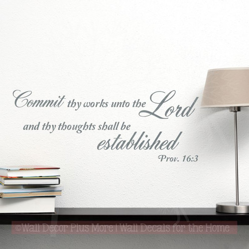 Religious Wall Art, Commit Thy Works Vinyl Lettering Decals Decor