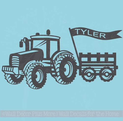 Boys Room Wall Stickers Tractor Wagon With Name Flag Farmer Decals
