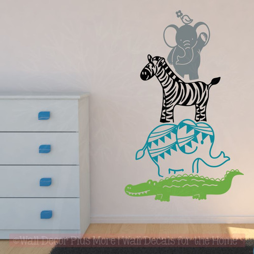 baby room wall decals animal stack nursery décor vinyl art stickers