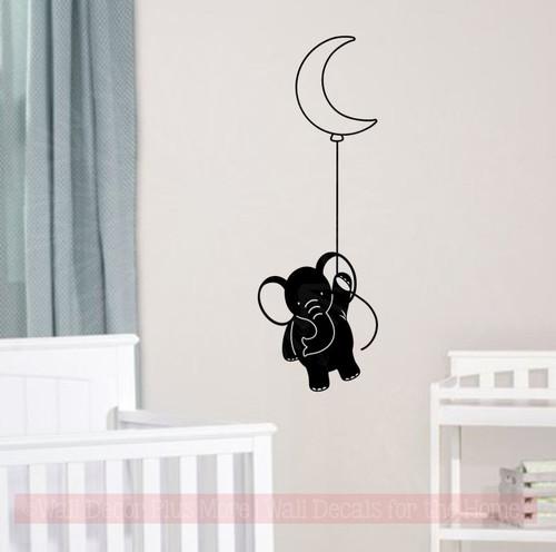 Elephant With Balloon Nursery Decor Vinyl Art Decals Baby Room Stickers
