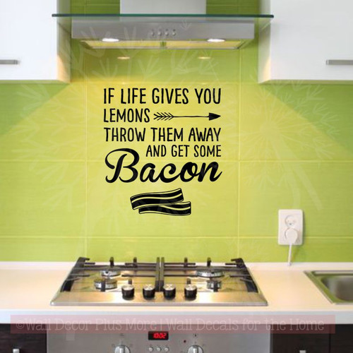 Kitchen Quotes Get Some Bacon Inspirational Wall Decals Funny Stickers Black