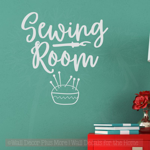 Sewing Room Wall Decals Vinyl Lettering Stickers Craft Room Decor Lt Gray