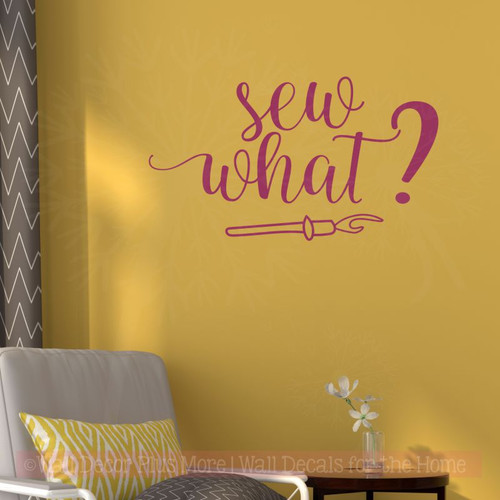 sew what vinyl decals lettering crafting room seamstress wall stickers