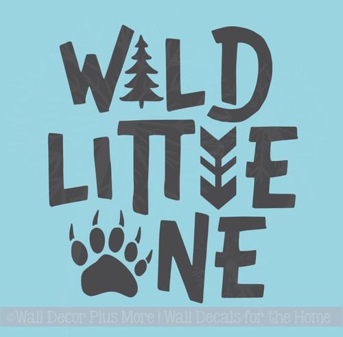 Wild Little One Boy Nursery Decor Animal Print Vinyl Art Wall Decals