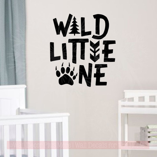 Wild Little One Boy Nursery Decor Animal Print Vinyl Art Wall Decals Black