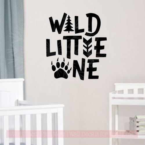 Wild Little One Boy Nursery Decor Animal Print Vinyl Art Wall Decals Black