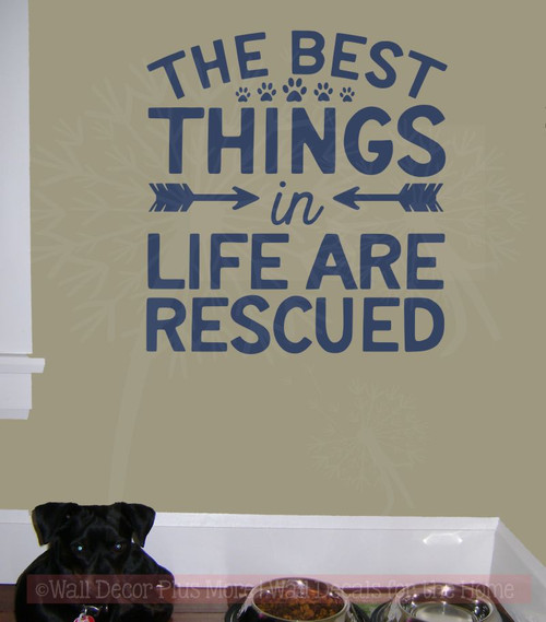 Dog Wall Décor Best Things Are Rescued Vinyl Stickers Wall Art Decals Deep Blue