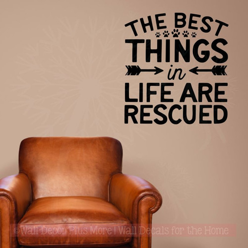 Dog Wall Décor Best Things Are Rescued Vinyl Stickers Wall Art Decals Black