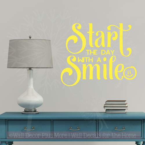 Inspirational Wall Quotes Start With A Smile Vinyl Stickers Class Decor Lt Yellow