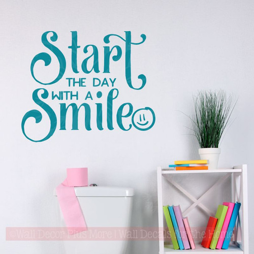 Inspirational Wall Quotes Start With A Smile Vinyl Stickers Class Decor Teal