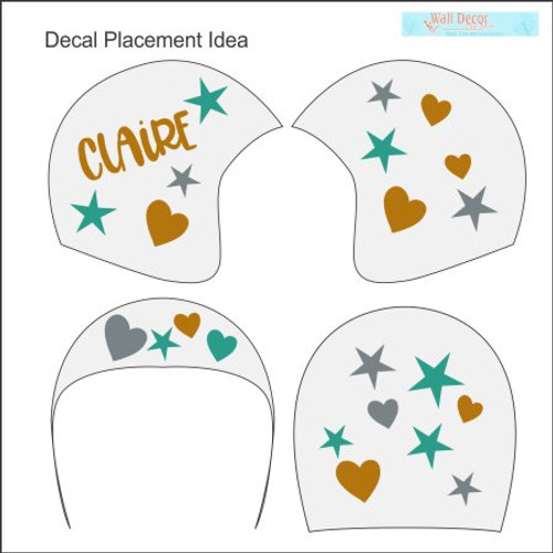 Cranial Helmet Band Decal Sticker Accessories Girls Name Hearts Stars Placement