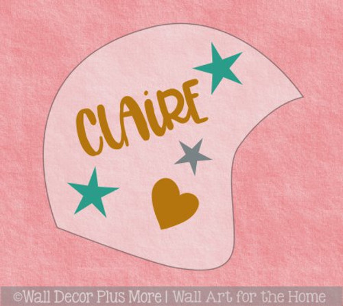 Cranial Helmet Band Decal Sticker Accessories Girls Name Hearts Stars