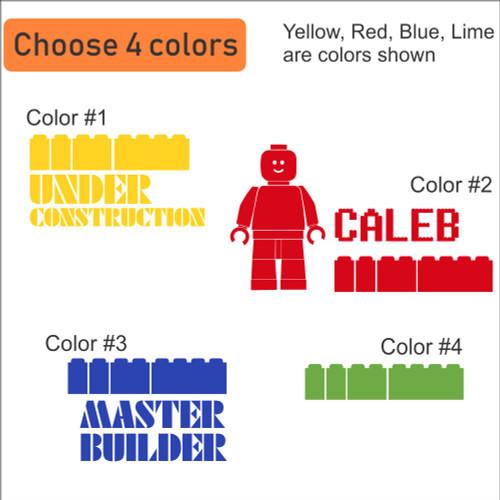 Cranial Helmet Band Decal Sticker Accessories Boys Master Builder Blocks 4-color