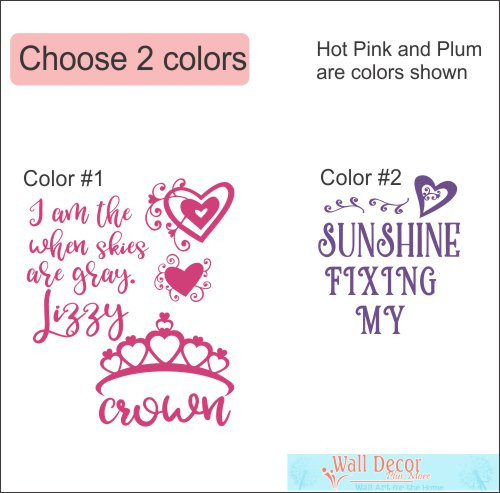 Cranial Helmet Band Decal Sticker Accessories Girls Name Princess Crown and Hearts, 2-Colors