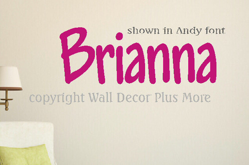 Comic Sans or Andy Fun Kids Font for Wall Name Decal