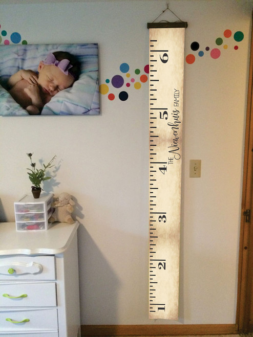 Height Ruler Personalized with Last Name Printed on Canvas Growth Chart Nursery Wall Art 6ft
