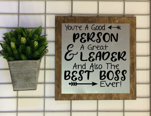 Metal on Wood - Best Boss Ever Wall Art Decor Metal Framed Ready To Hang Sign Boss Gift , 3 Sign Choices