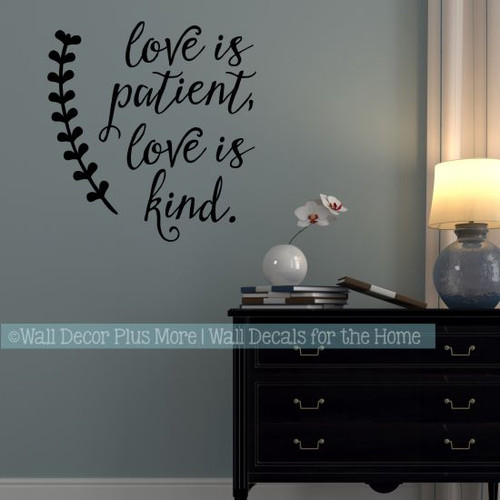 Great Love Wall Quotes Love Is Patient Kind Vinyl Art Decal Stickers-Black