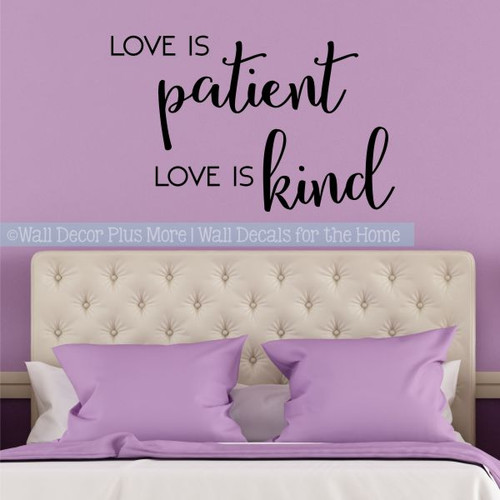 Bedroom Wall Quotes Love Is Patient Love Is Kind Vinyl Lettering Decals-Black