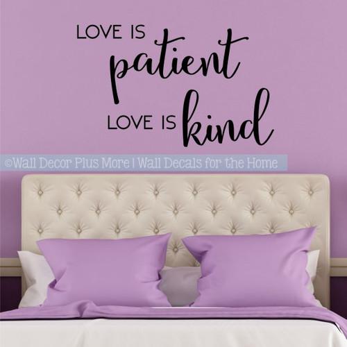 Bedroom Wall Quotes Love Is Patient Love Is Kind Vinyl Lettering Decals-Black