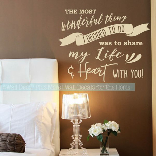 Bedroom Wall Decals Share Life And Heart Vinyl Letter Decor Love Quotes-Beige