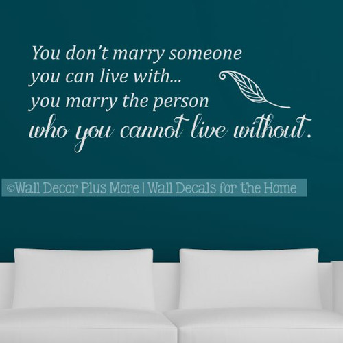 Love Wall Art Decal Person You Can Not Live Without Master Bedroom Decor-Light Gray