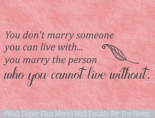 Love Wall Art Decal Person You Can Not Live Without Master Bedroom Decor