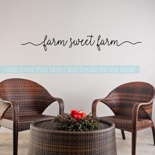Farmhouse Style Decor Farm Sweet Farm Kitchen Vinyl Lettering Stickers-Black