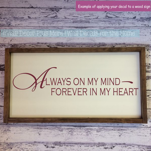 Wall Decals For Bedroom Always On My Mind Vinyl Lettering Love Quotes-Burgundy
