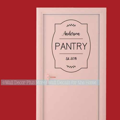 Kitchen Wall Decal Personalized Decor Pantry Last Name Vinyl Lettering-Black