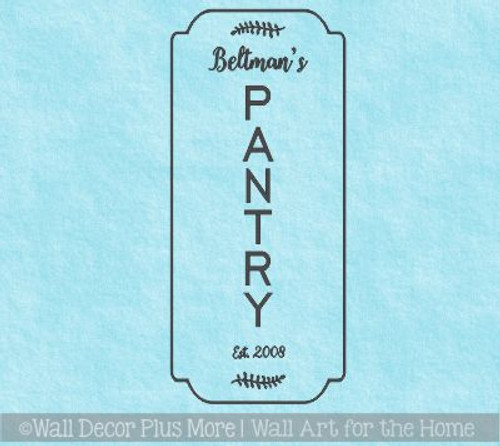 Kitchen Decal Stickers Tall Pantry Name Date Personalized Vinyl Décor