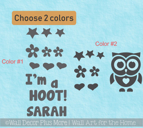Owl Im a Hoot Cranial Helmet Band Decal Sticker Accessories Personalized Girls Name