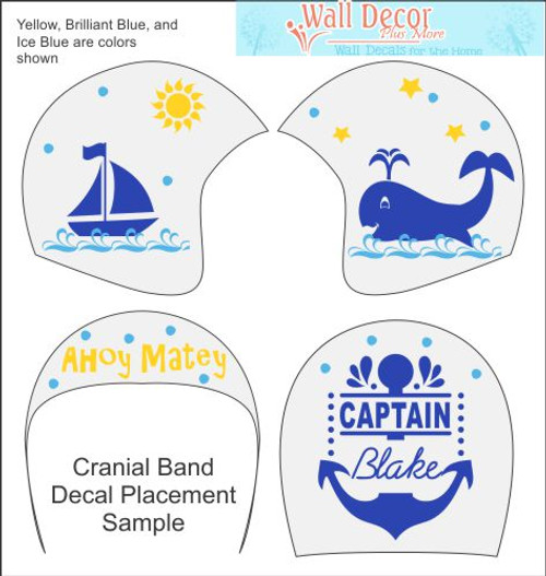 Ahoy Matey Cranial Helmet Band Decal Sticker Accessories Boys Captain of the Sea