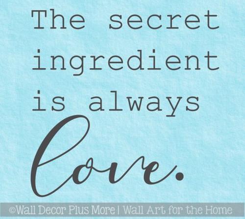 Kitchen Art Stickers Secret Ingredient Love Vinyl Decals Home Decor