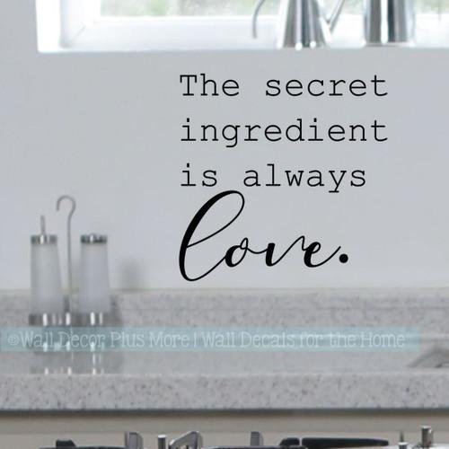 Kitchen Art Stickers Secret Ingredient Love Vinyl Decals Home Decor-Black
