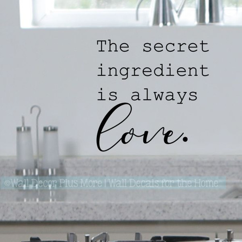 Kitchen Art Stickers Secret Ingredient Love Vinyl Decals Home Decor-Black