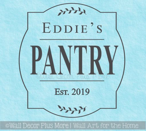 Personalized Kitchen Decor Pantry Decal, Framed Last Name Wedding Gift