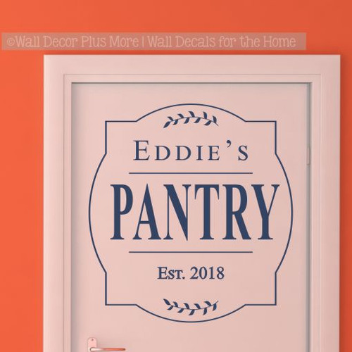 Personalized Kitchen Decor Pantry Decal, Framed Last Name Wedding Gift-Deep Blue