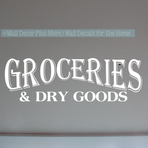 Kitchen Wall Decor Groceries Dry Goods Wall Decal Farmhouse Art Stickers-White