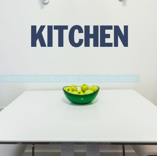 Kitchen Wall Decor Block Letters Vinyl Decals For Kitchen Home Decor-Deep Blue