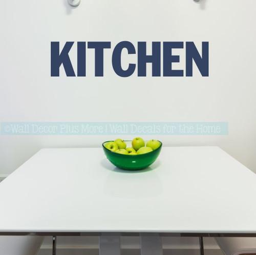 Kitchen Wall Decor Block Letters Vinyl Decals For Kitchen Home Decor-Deep Blue