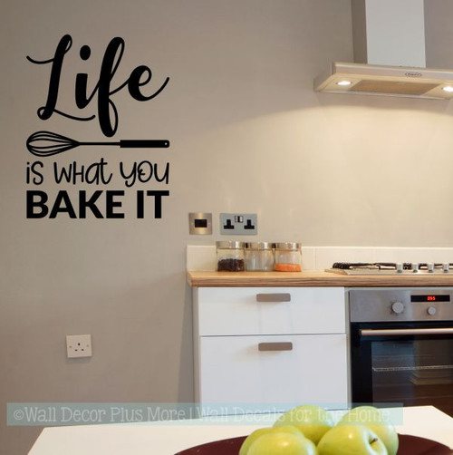 Kitchen Wall Art Decor Life Is What You Bake It Vinyl Lettering Stickers-Black