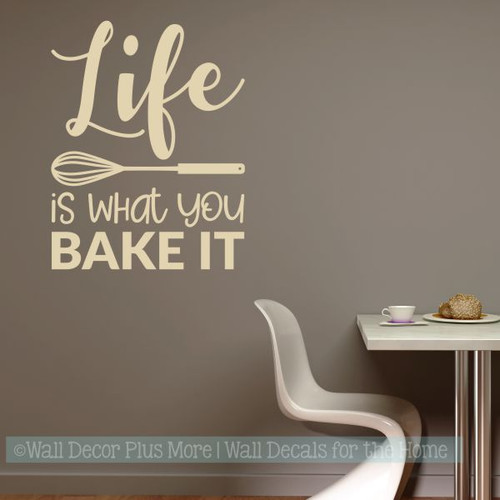 ... Kitchen Wall Art Decor Life Is What You Bake It Vinyl Lettering Stickers  Beige