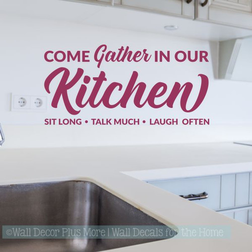 Kitchen Quotes Wall Decor Gather In Our Kitchen Vinyl Lettering Decals-Berry
