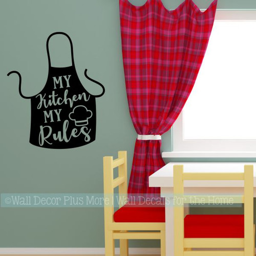 Wall Stickers My Kitchen My Rules Funny Mom Vinyl Art Wall Decals Quote-Black