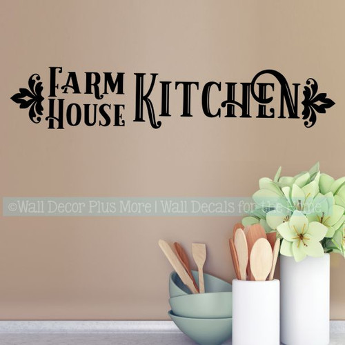 Farmhouse Kitchen Decor Vinyl Lettering Decals for Home Wall Decor-Black