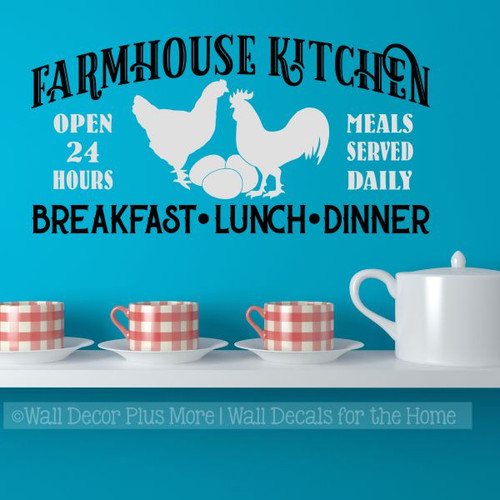 Farmhouse Kitchen Breakfast Wall Decor Stickers Vinyl Art Decals-Light Gray, Black